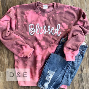 Blessed Bleached Sweatshirt-Four Sisters Boutique