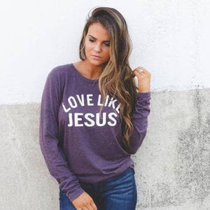 Love Like Jesus Tee in Plum-Four Sisters Boutique