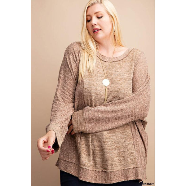 Chestnut Ribbed Top-Four Sisters Boutique