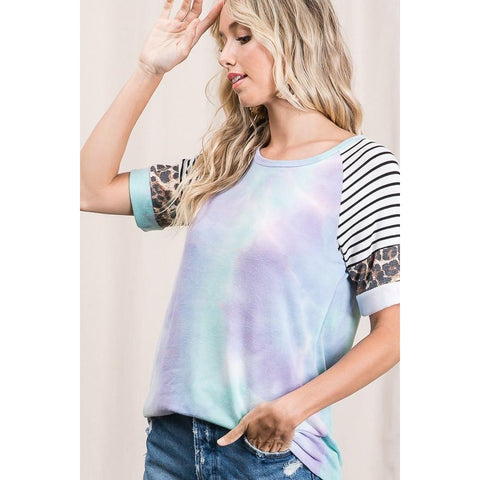 Tie Dye, Leopard and Stripes Top-Four Sisters Boutique