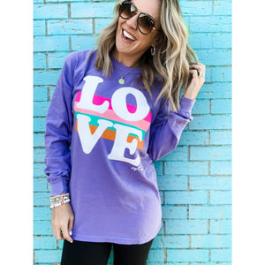 Love Stripes Tee-Four Sisters Boutique