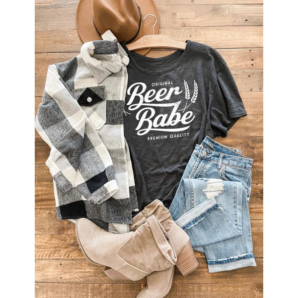 Plaid Flannel Shacket in CAMEL, BLACK & WHITE, or MAUVE ***PREORDER***-Four Sisters Boutique