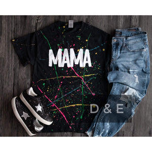 Paint Splattered Mama Tee-Four Sisters Boutique