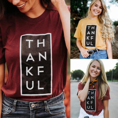 Thankful Tee in Cranberry, Mustard & Rust-Four Sisters Boutique