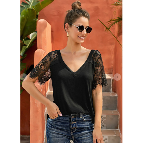 Black Lace V-Neck Top
