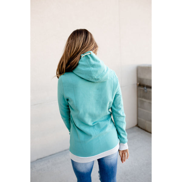 Ampersand Avenue SingleHood Sweatshirt in Teal and Gray-Four Sisters Boutique