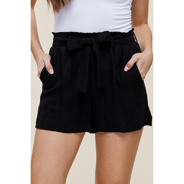 Black Paperbag Shorts-Four Sisters Boutique