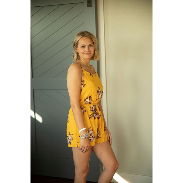Mustard Floral Romper-Four Sisters Boutique