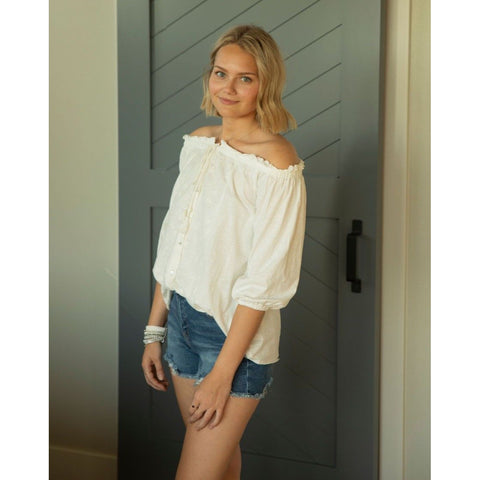 Embroidered Off the Shoulder Top-Four Sisters Boutique