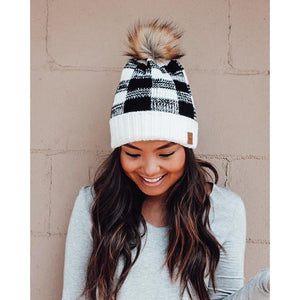 Black Buffalo Plaid Beanie with Pom Accent-Four Sisters Boutique