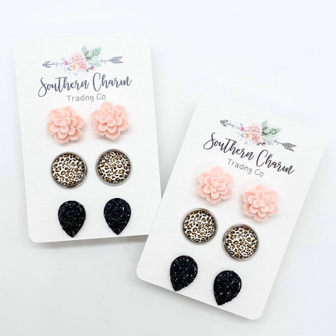 Pink Succulent Earrings Trio-Four Sisters Boutique