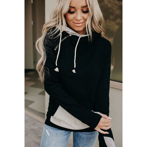 Ampersand Avenue Double Hoodie - Black Herringbone Accent-Four Sisters Boutique