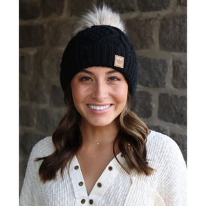 Black Cable Knit Beanie with Pom Accent-Four Sisters Boutique