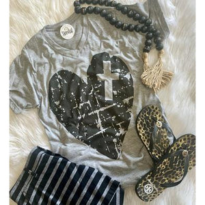 Cross Heart Tee-Four Sisters Boutique