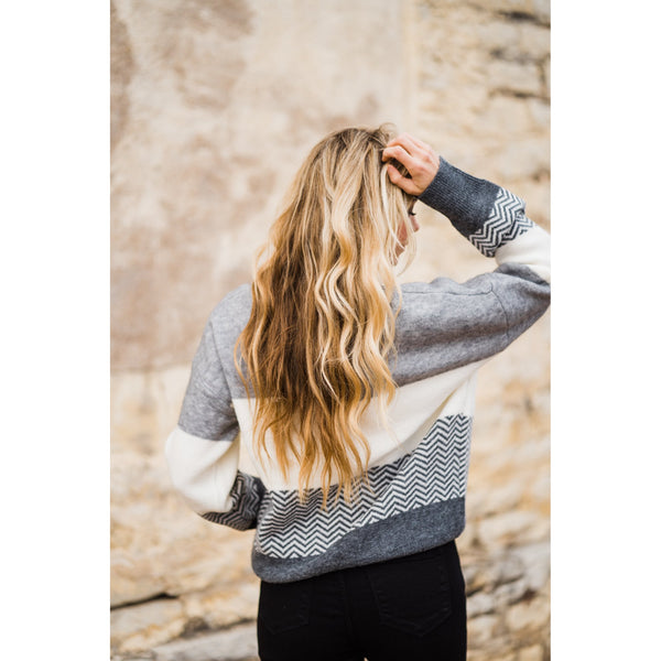 Gray Striped & Color Block Sweater-Four Sisters Boutique