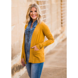 Everyday Cardigan in Mustard-Four Sisters Boutique