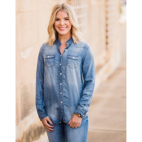 Chambray Button Up Top-Four Sisters Boutique