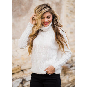Cream Cable Knit Sweater-Four Sisters Boutique
