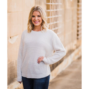 Waffle Knit Sweater - Off White-Four Sisters Boutique