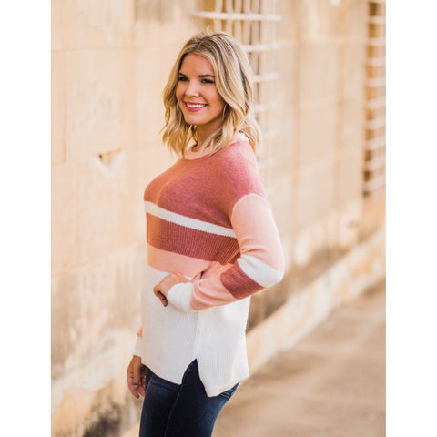Blush Color Block Sweater-Four Sisters Boutique