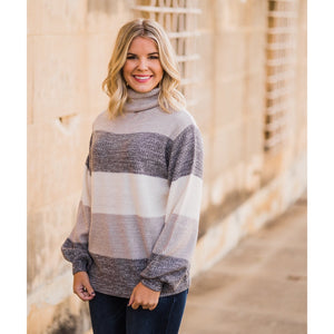 Colorblock Turtleneck Sweater-Four Sisters Boutique