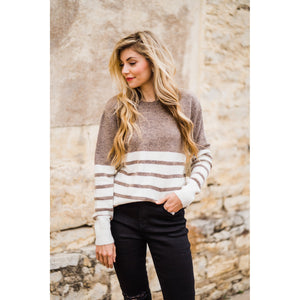 Khaki and Ivory Striped Color Block Sweater-Four Sisters Boutique