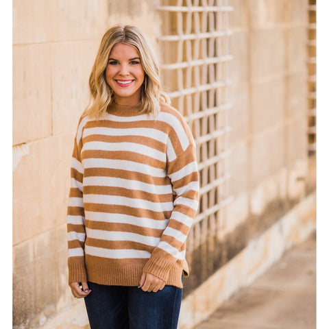 Camel and Ivory Striped Sweater-Four Sisters Boutique