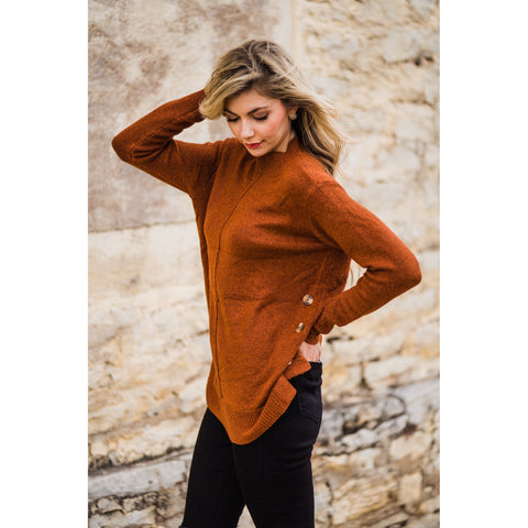 Rust Button Detail Sweater-Four Sisters Boutique