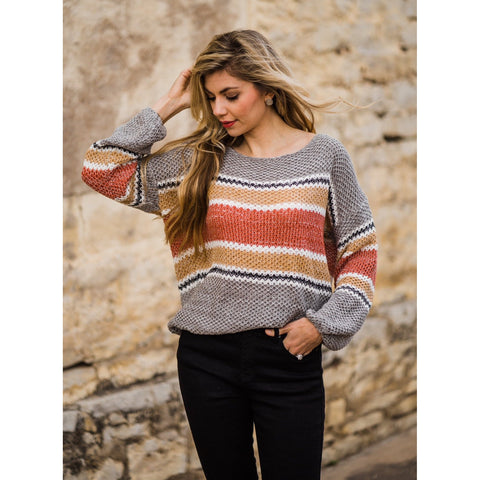 Rust Striped Sweater-Four Sisters Boutique