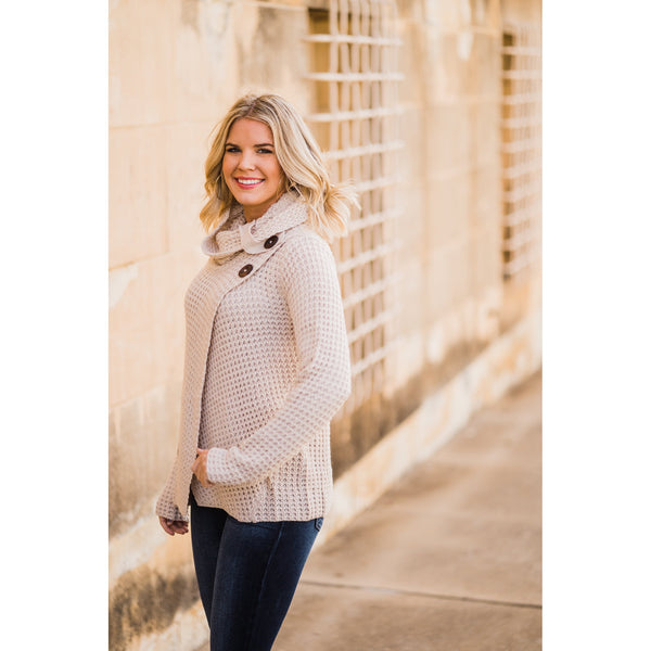 Oatmeal Button Detail Sweater-Four Sisters Boutique