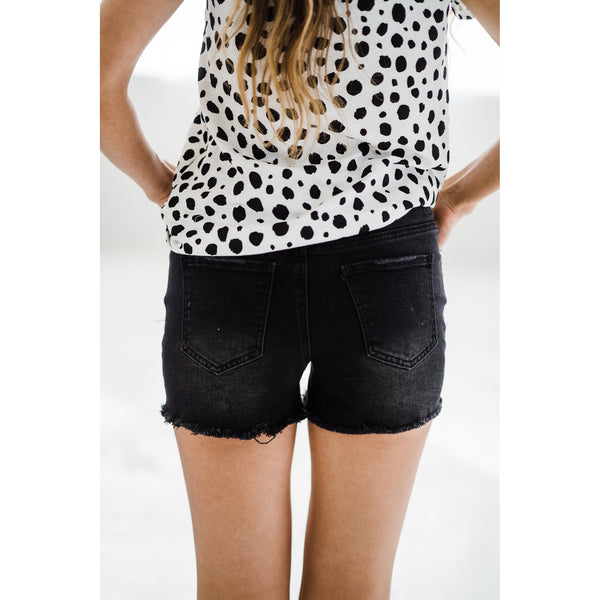 Jogger Shorts - Distressed Black-Four Sisters Boutique