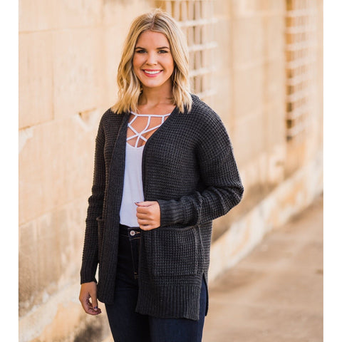 Waffle Knit Cardigan in Charcoal-Four Sisters Boutique