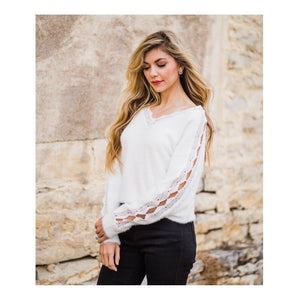 Cream Lace Detail Sweater-Four Sisters Boutique