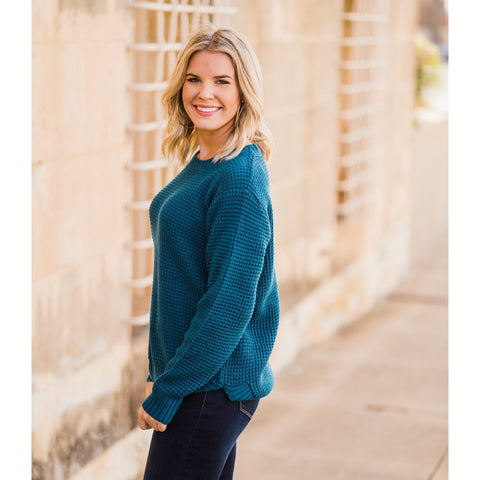 Waffle Knit Sweater - Teal-Four Sisters Boutique
