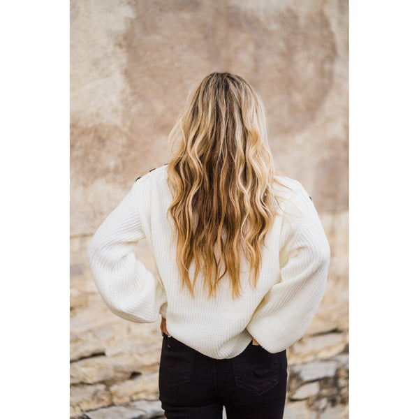 Cream Balloon Sleeve Sweater-Four Sisters Boutique