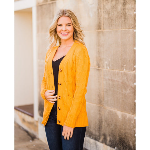 Mustard Cable Knit Cardigan-Four Sisters Boutique