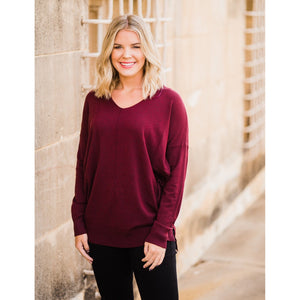 Heather Burgundy V-Neck Sweater-Four Sisters Boutique