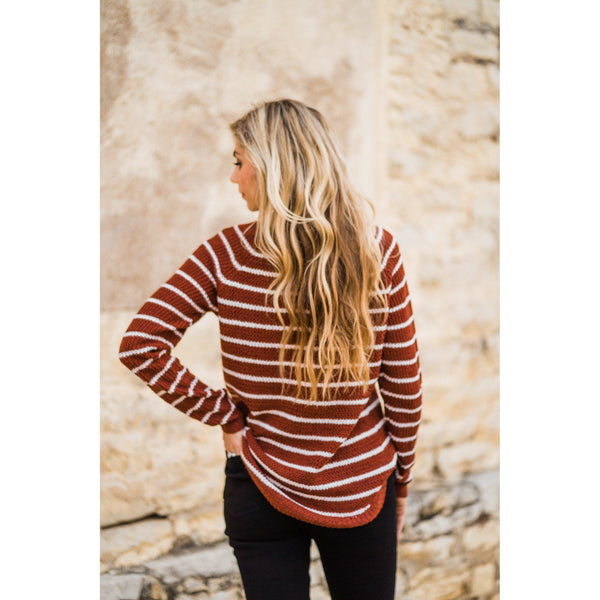 Copper and Ivory Striped Sweater-Four Sisters Boutique