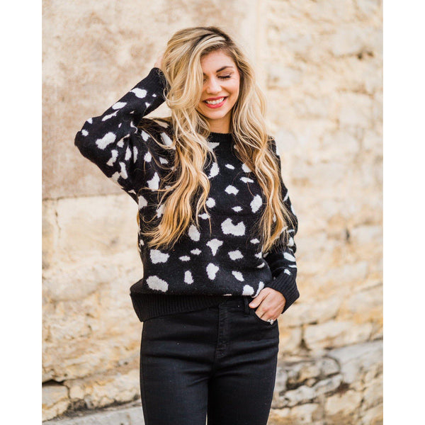 Black Animal Print Sweater-Four Sisters Boutique