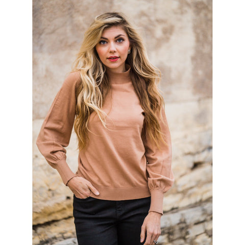 Camel Mock Neck Top-Four Sisters Boutique