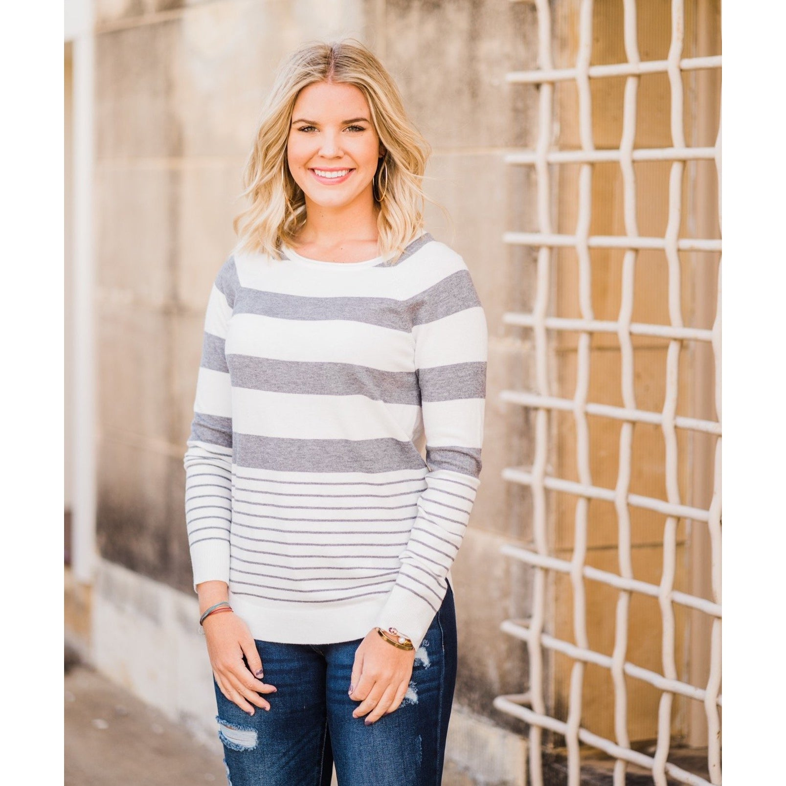 Mixed Stripe Top-Four Sisters Boutique