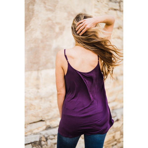 Eggplant Strappy Tank-Four Sisters Boutique