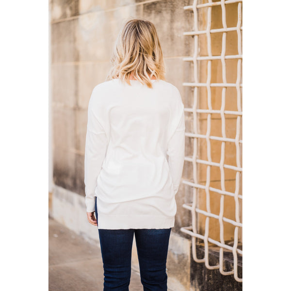 Off White V-Neck Sweater-Four Sisters Boutique