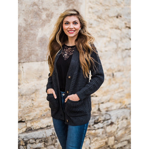 Charcoal Waffle Knit Cardigan-Four Sisters Boutique