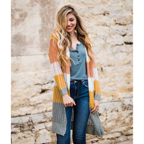 Color Block Fishnet Cardigan-Four Sisters Boutique
