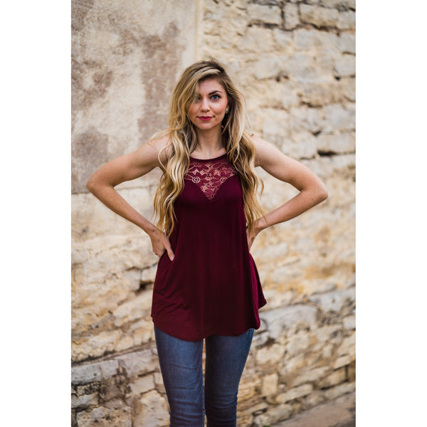 Dark Burgundy Lace Halter-Four Sisters Boutique