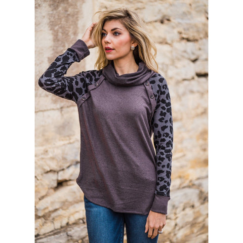 Leopard Cowl Neck Top-Four Sisters Boutique