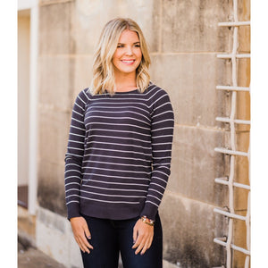 Charcoal and Ivory Striped Top