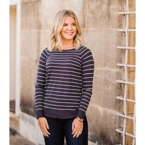 Charcoal and Ivory Striped Top-Four Sisters Boutique