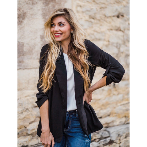 Black Ruched Blazer-Four Sisters Boutique